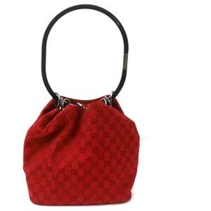 Auth Gucci Gg Hand Bag Red Canvas #6351G92